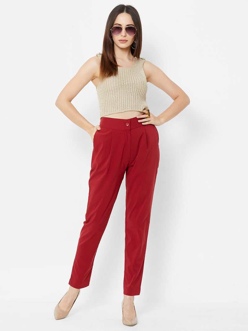 Comfortable Plain Trousers Maroon