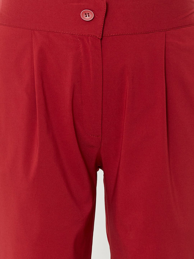 ZOLA Maroon Comfortable Plain Trousers