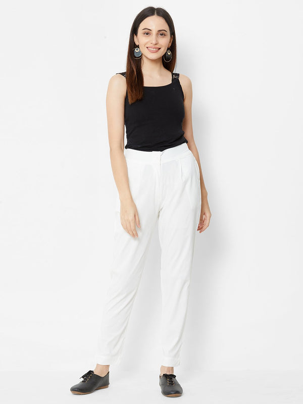 Comfortable Plain Trousers Off White