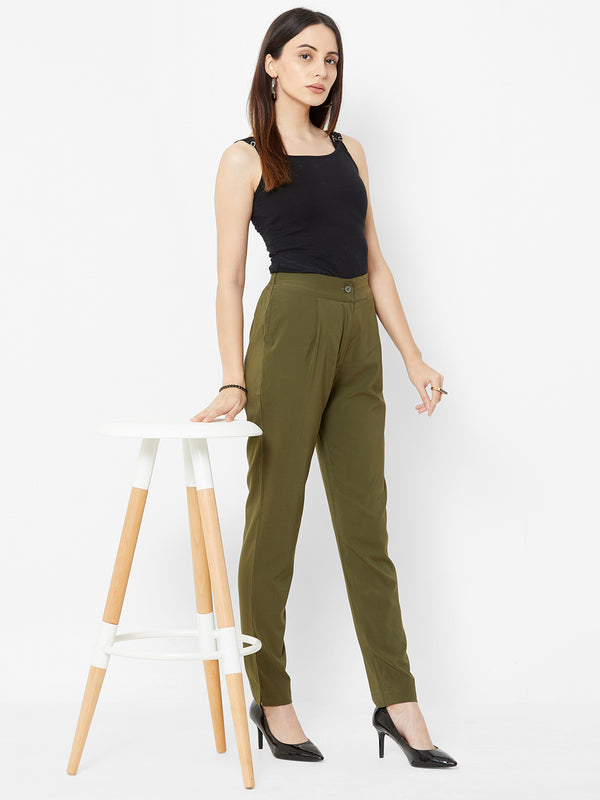 Comfortable Plain Trousers Olive