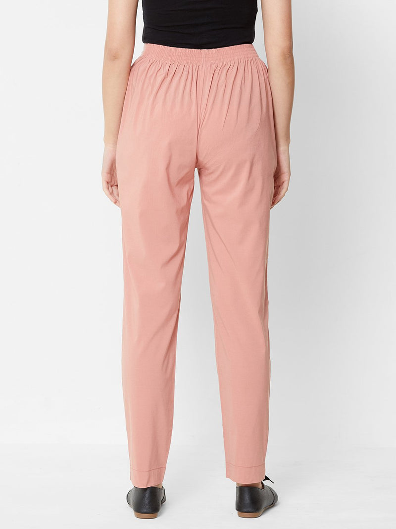 Comfortable Plain Trousers Pink