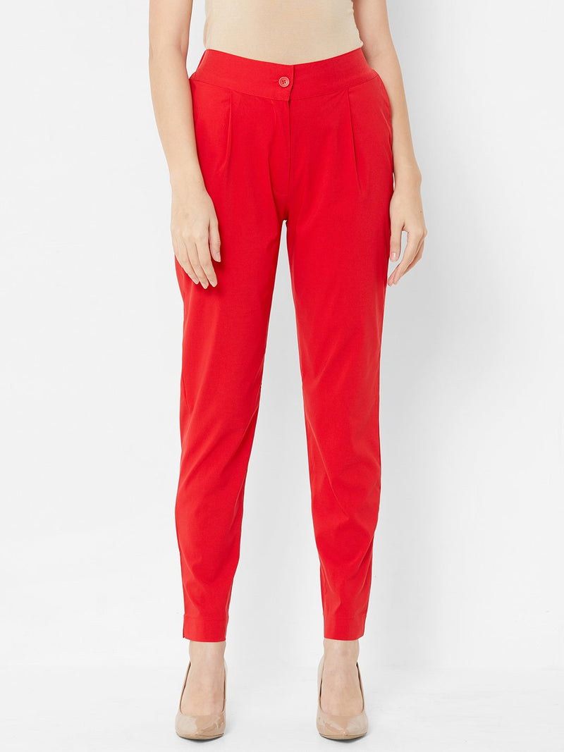 Comfortable Plain Trousers Red