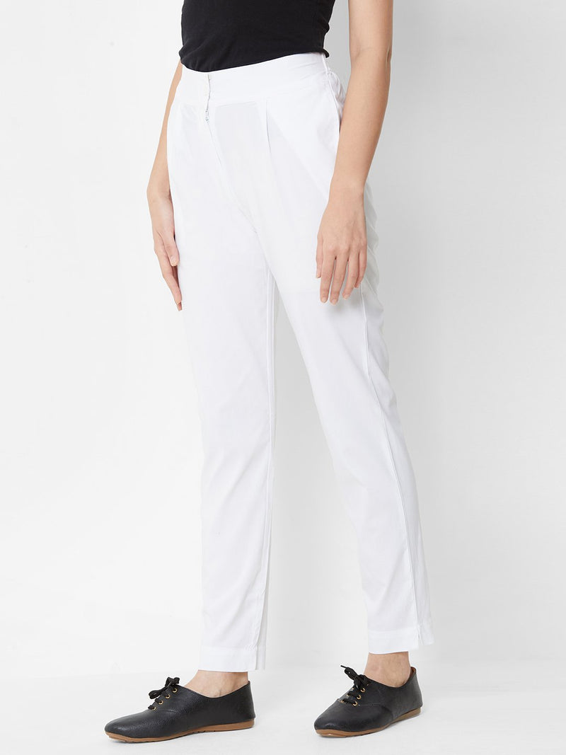Comfortable Plain Trousers White