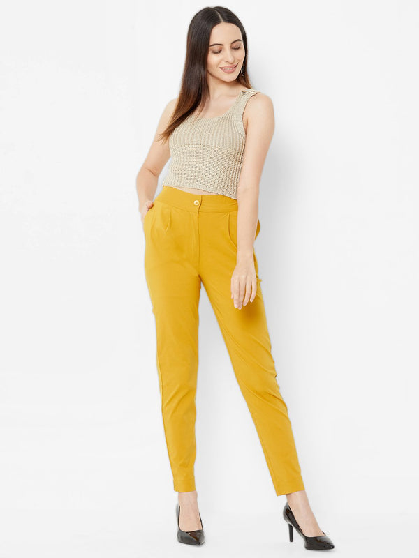 Comfortable Plain Trousers Yellow