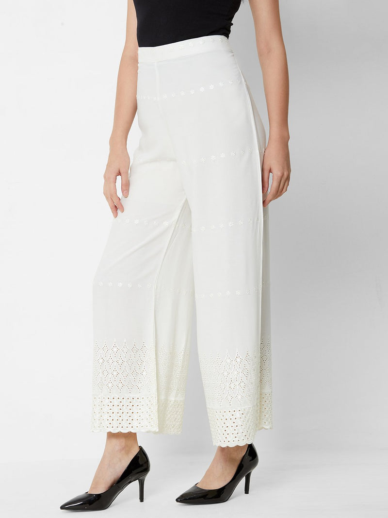 Lucknowi Chikankari Pallazo Pants Off White
