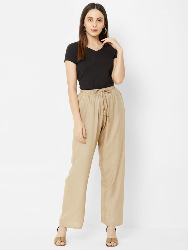 Regular Plain Pants Beige