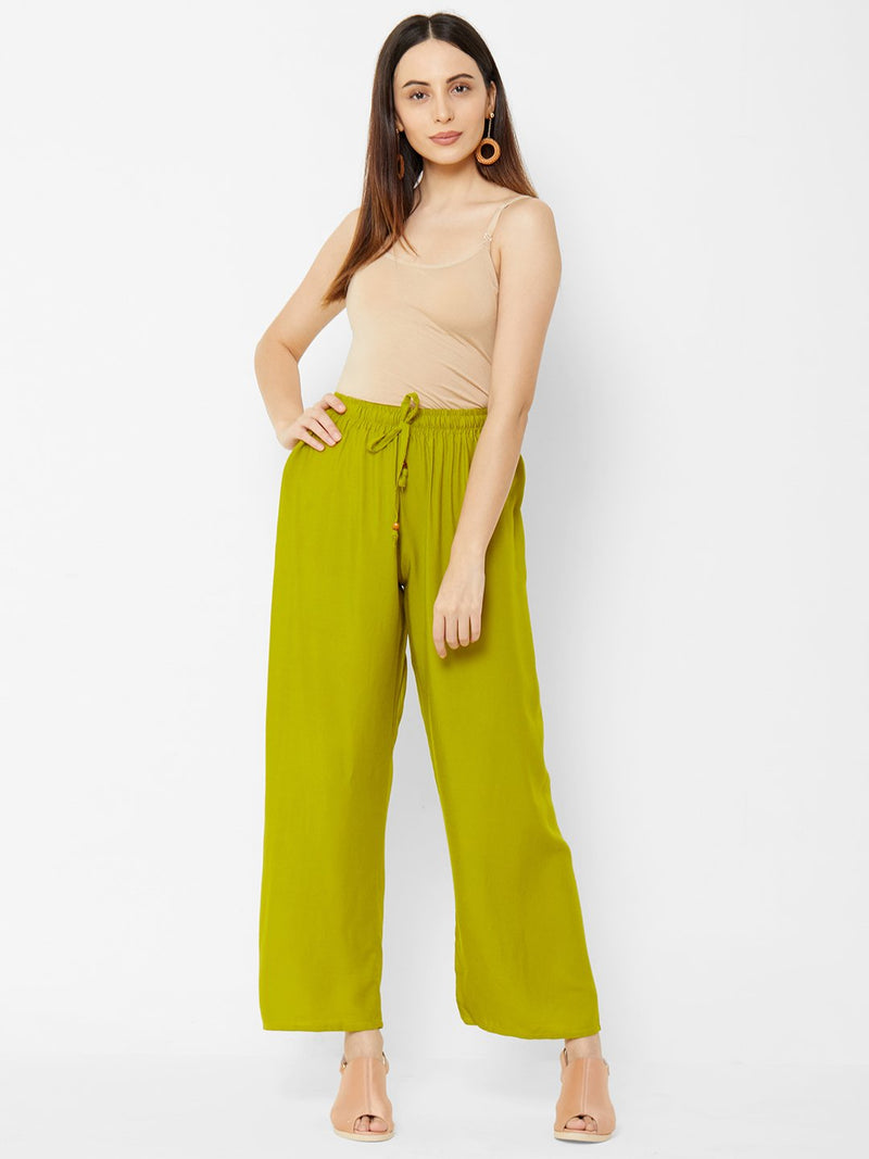Regular Plain Pants Green