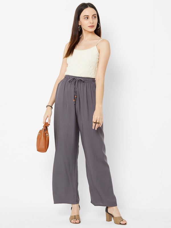 Regular Plain Pants Grey