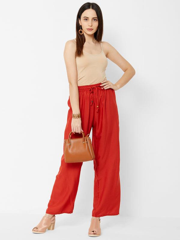 Regular Plain Pants Maroon