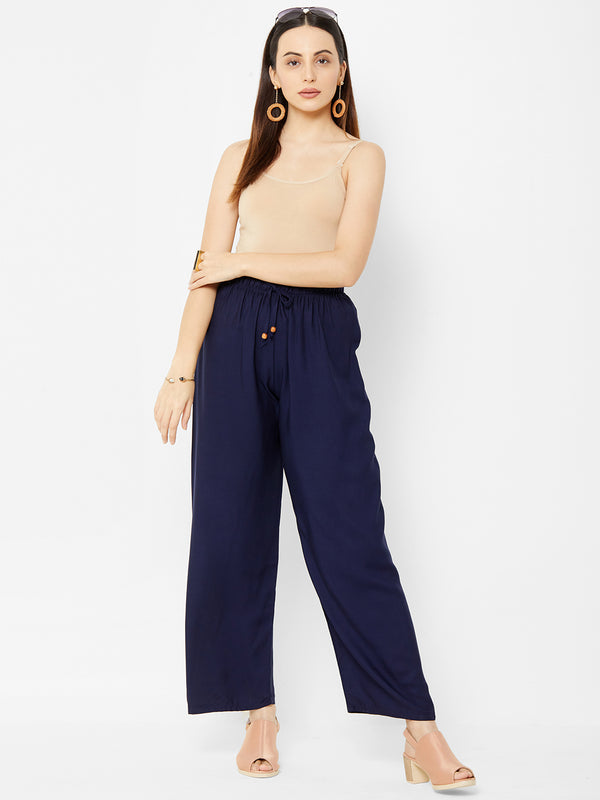 Regular Plain Pants Navy Blue