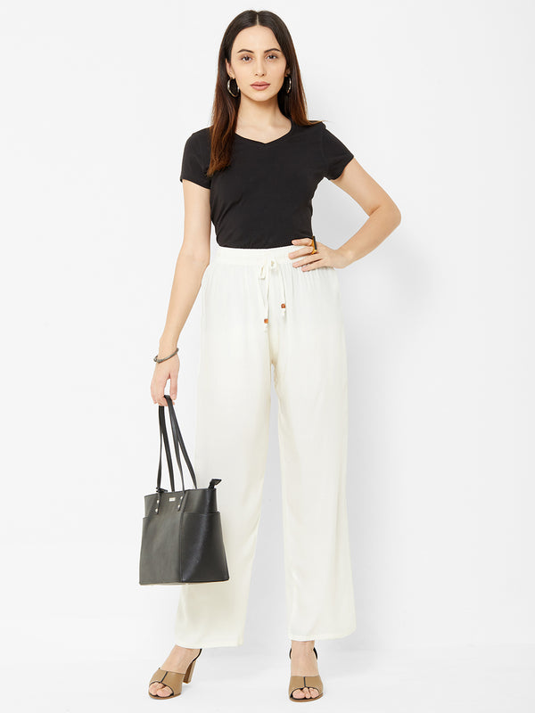 Regular Plain Pants Off White