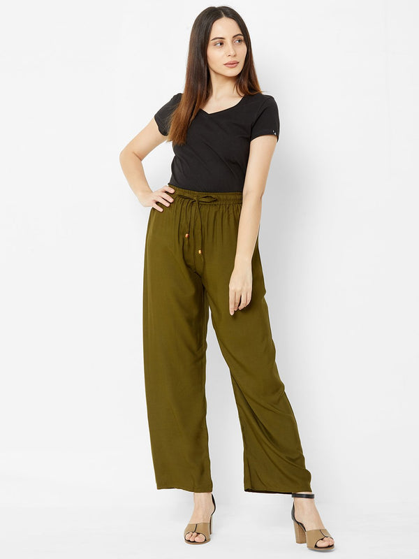 Regular Plain Pants Olive