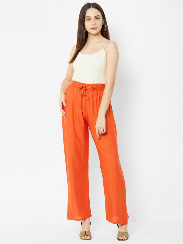 Regular Plain Pants Orange