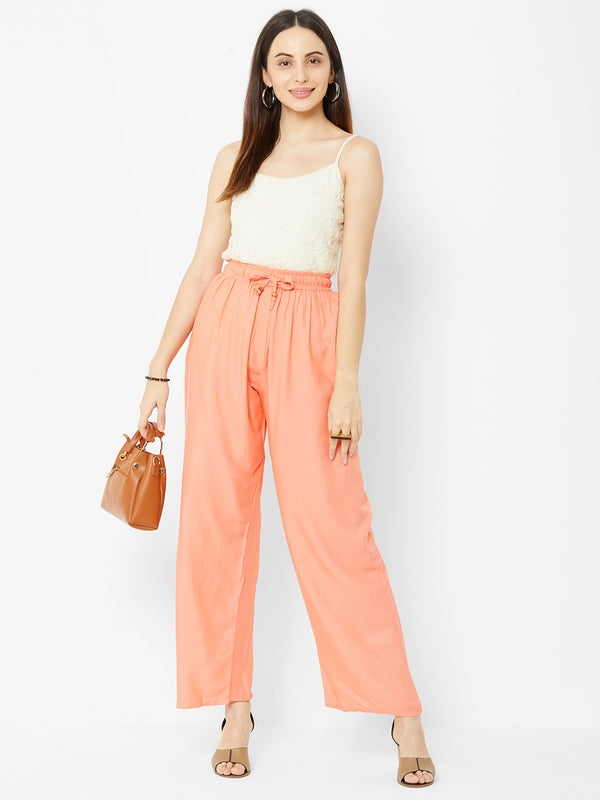 Regular Plain Pants Peach