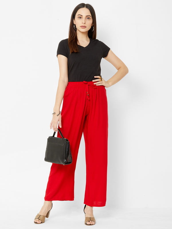 Regular Plain Pants Red