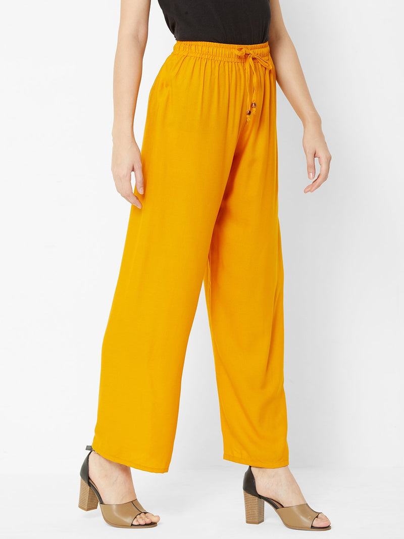 Regular Plain Pants Yellow