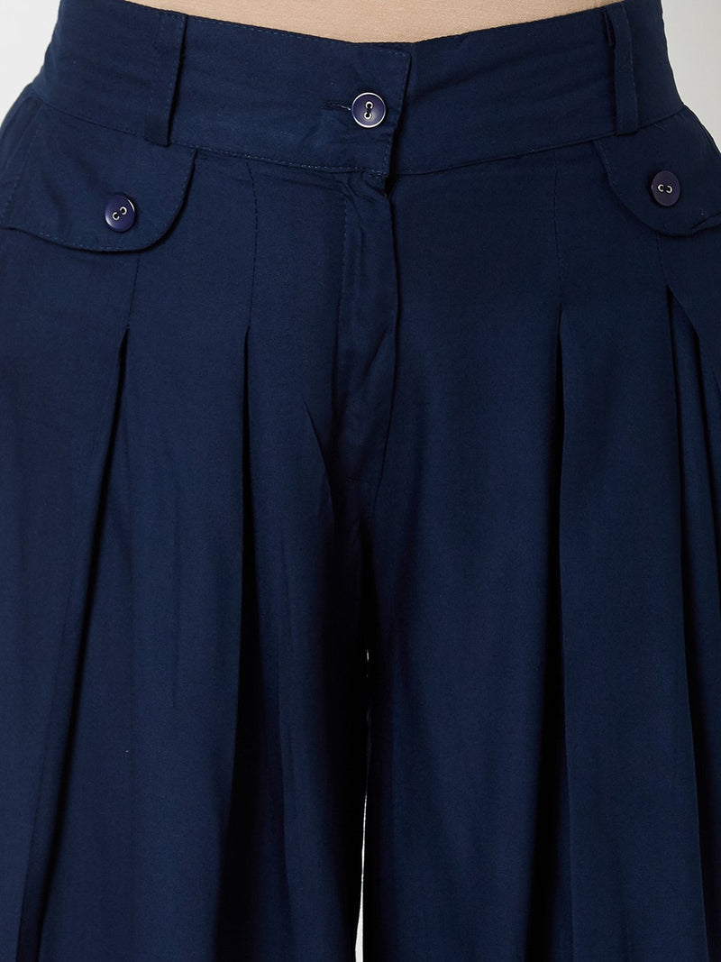 Plain Flared Pallazo Navy Blue