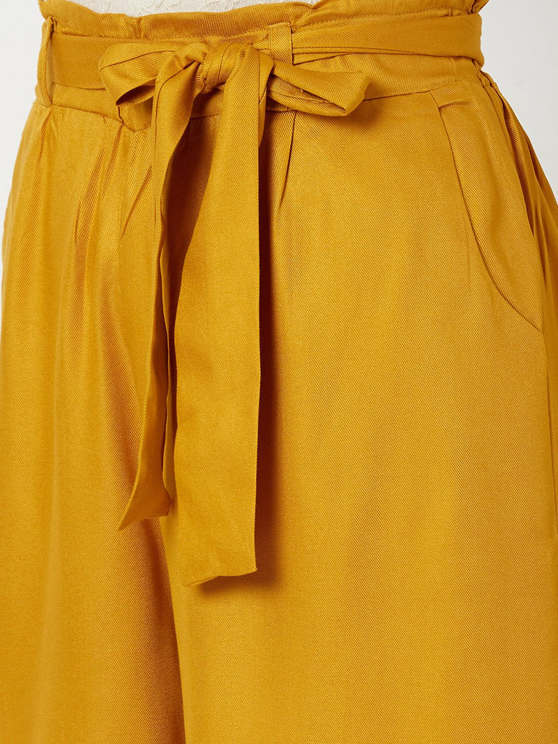 ZOLA Solid Flared Palazzo Mustard