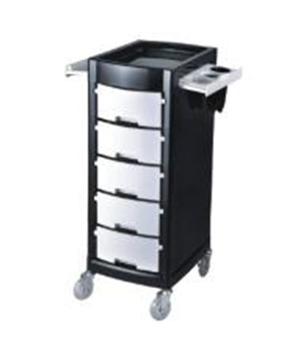 PROFESSIONAL EQUIPMENT SALON TROLLEY (BLACK & SILVER) 003 | KARROCË E ZEZË & HIRI