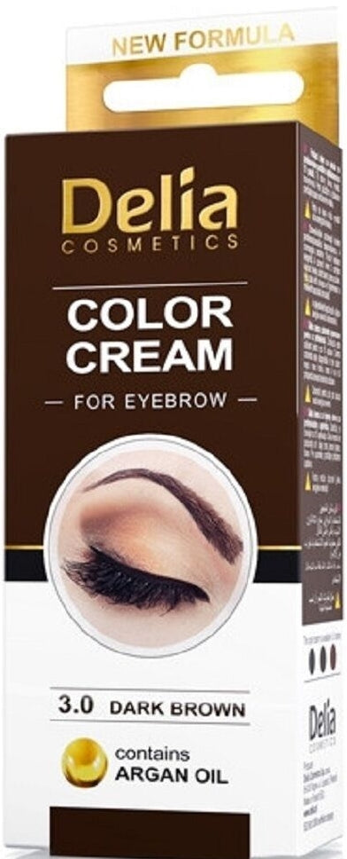DELIA COLOR CREAM FOR EYEBROWN DARK BROWN 3.0 15ML | NGJYRË PËR VETULLA KAFE E ERRËT