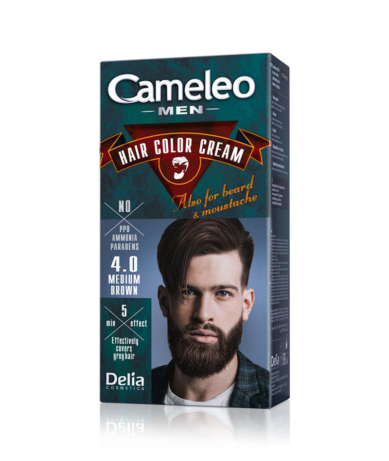 DELIA CAMELEO MEN HAIR COLOR CREAM FOR BEARD MEDIUM BROWN 4.0 30ml | NGJYRË PËR MJEKËR