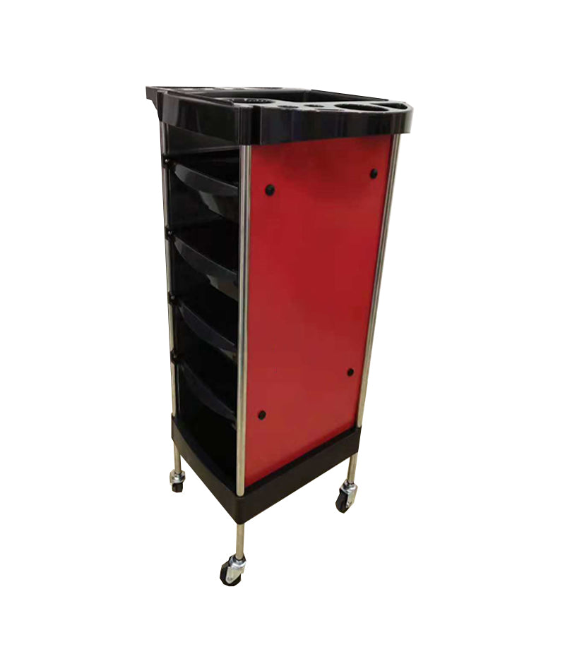 PROFESSIONAL EQUIPMENT SALON TROLLEY (RED & BLACK) 558 | KARROCË KUQ & ZI