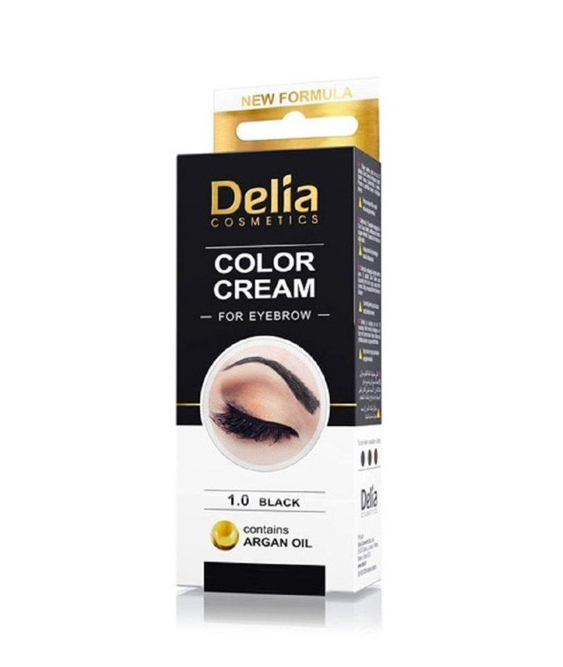 DELIA COLOR CREAM FOR EYEBROWN BLACK 1.0 15ML