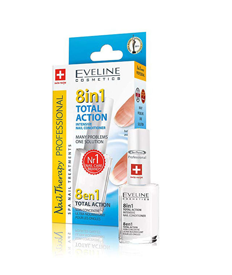 EVELINE COSMETICS TOTAL ACTION NAIL CONDITIONER 8IN1 12ML | KONDICIONER INTENSIV PËR THONJ