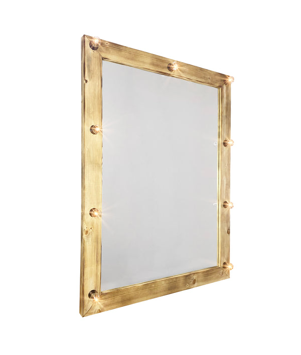 PROFESSIONAL EQUIPMENT WOODEN MAKEUP MIRROR WITH LIGHTING 0013V 135X100cm | PASQYRË PËR GRIM ME NDRIQIM