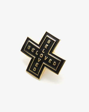 'Cross' Enamel Pin - Black/Gold