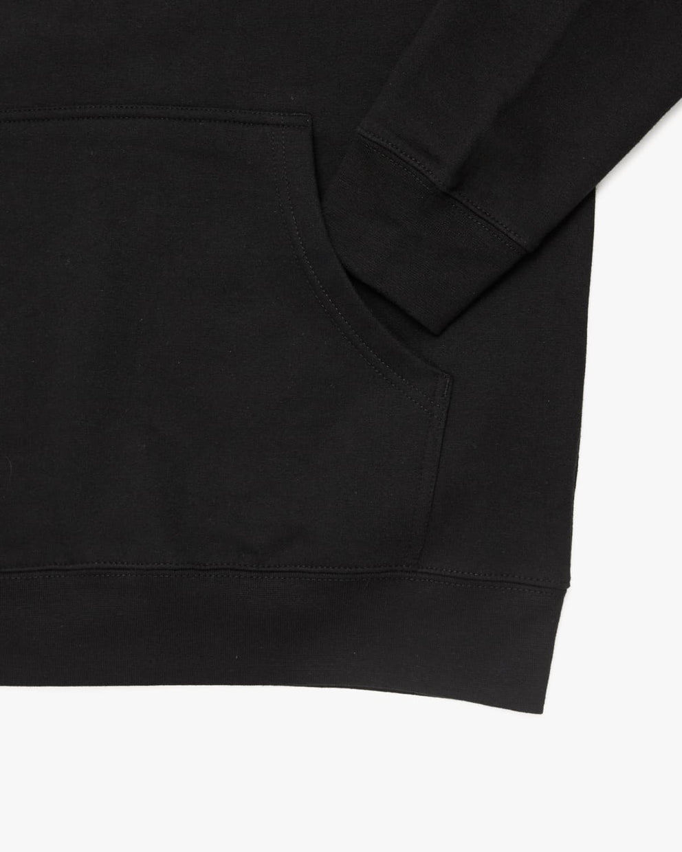 'Cross' Embroidered Pull Over Hoodie - Black