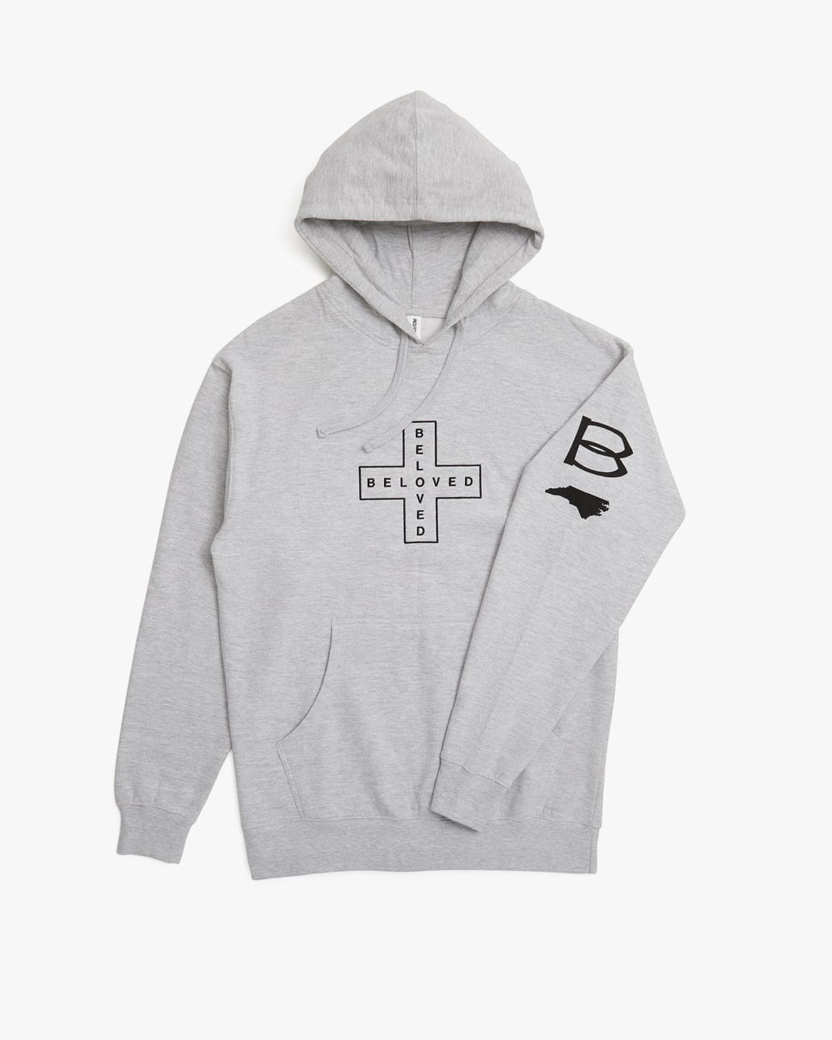 'Cross' Embroidered Pull Over Hoodie - Heather Grey