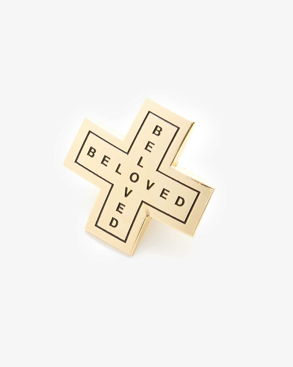 'Cross' Enamel Pin - Gold/Black