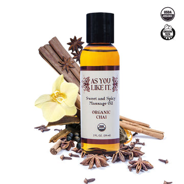 As You Like It <br>Organic<br> Massage Oil <br>2 oz. Chai aw-sex-products.