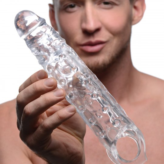 3 Inch Clear Penis Extender Sleeve With Scrotum Strap