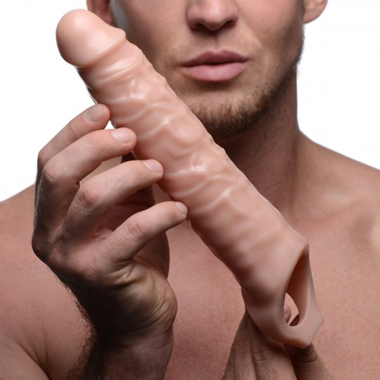 3 Inch Flesh Penis Extender Sleeve With Scrotum Strap aw-sex-products.