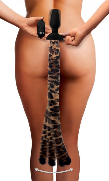 Wagging<br>Leopard Tail<br> Anal Plug<br>and Ears Set<br>Remote Control aw-sex-products.