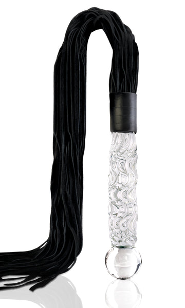 Icicles No. 38<br>Leather Flogger<br>Glass Handle aw-sex-products.