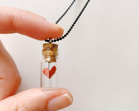 Origami heart in a bottle necklace