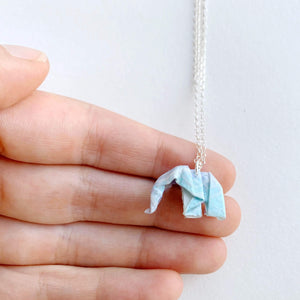 Origami Elephant Necklace handmade by Papiro Gems