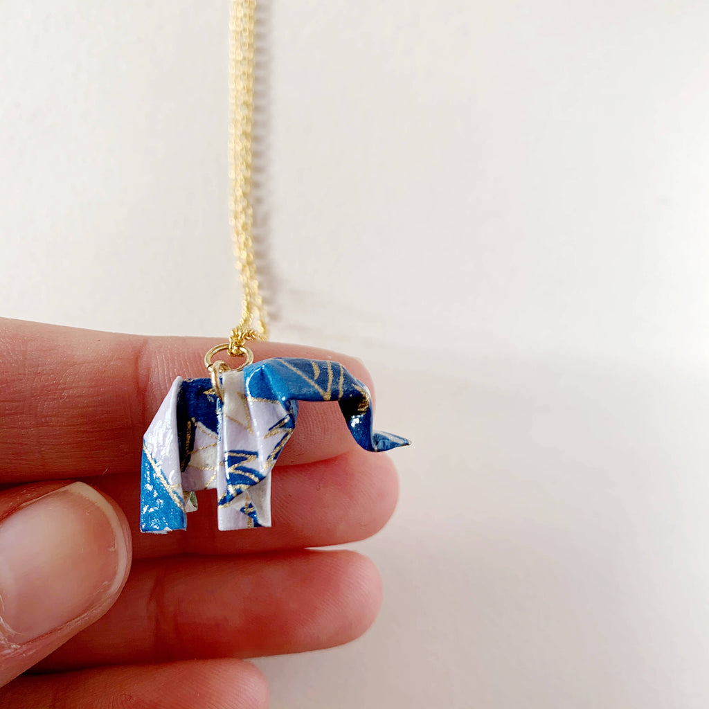Papiro Gems Origami elephant silver necklace