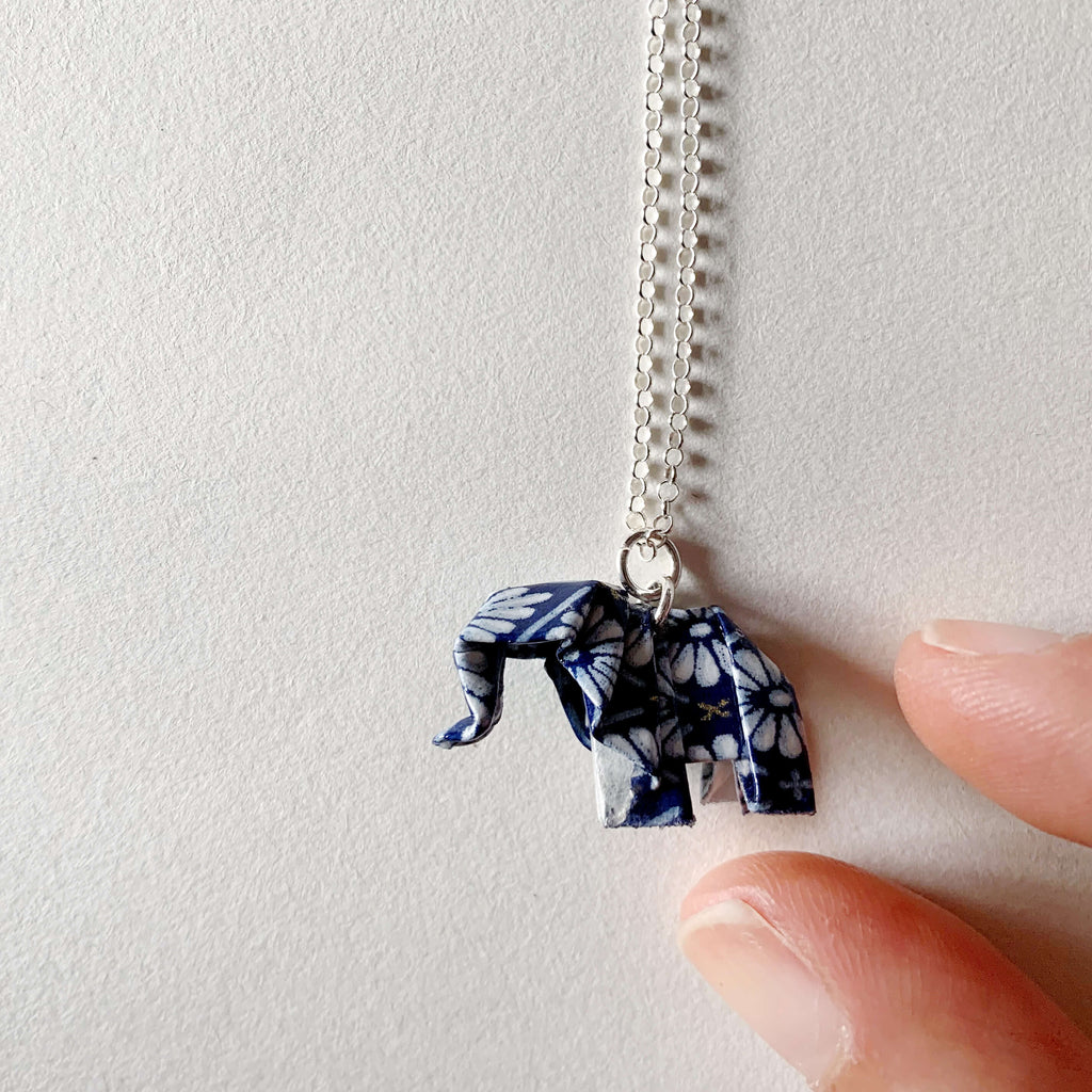 Personalized origami paper elephant silver necklace