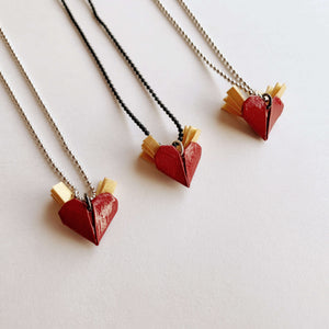 Handmade origami valentines heart necklace