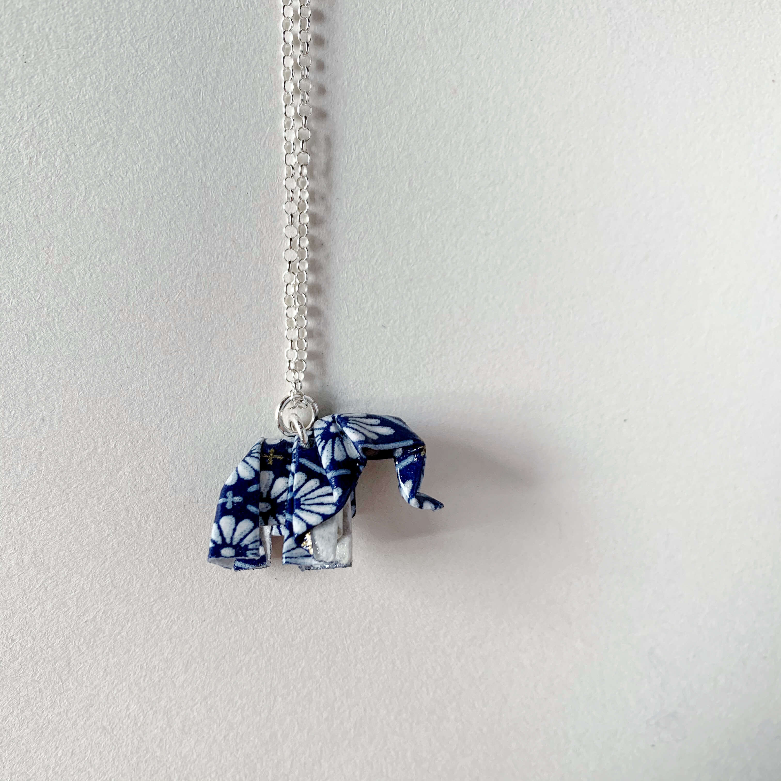 Papiro Gems Origami paper elephant silver necklace
