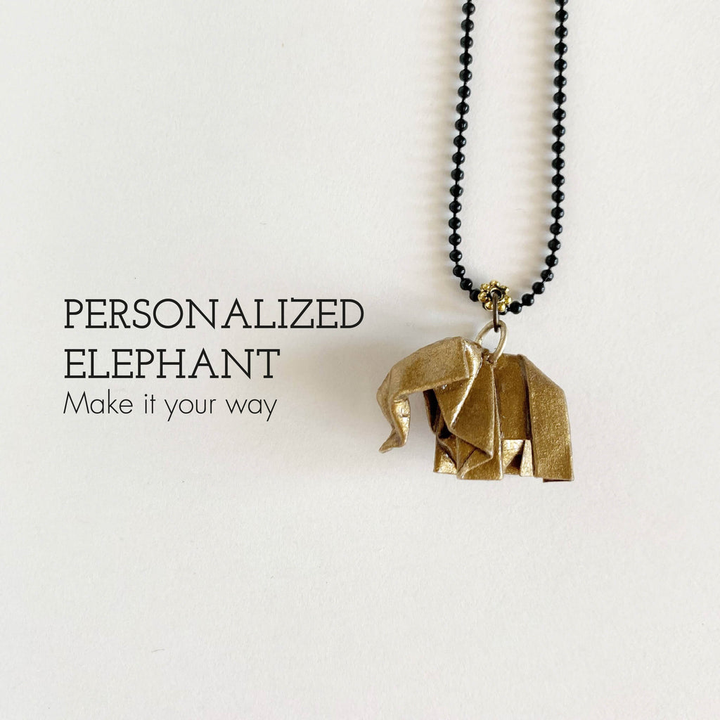 Personalized handmade origami elephant necklace