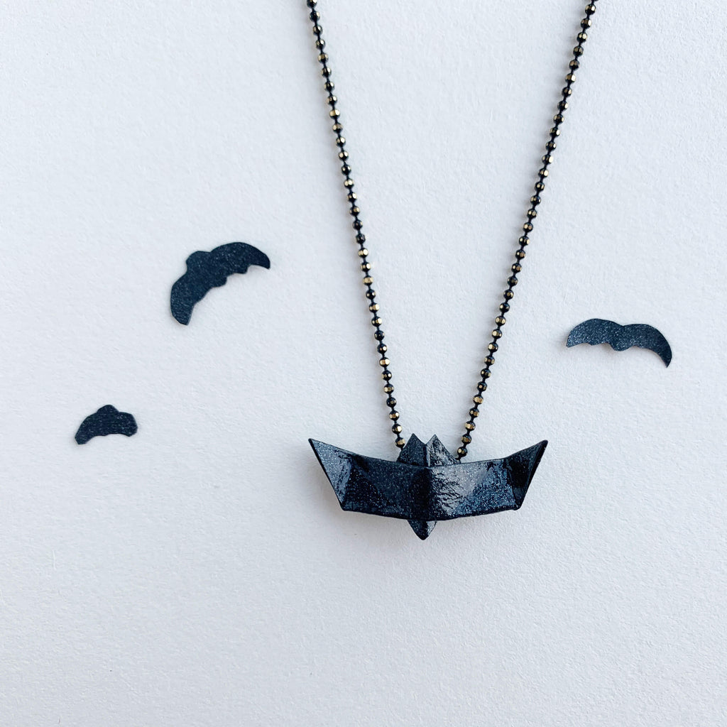 Handmade origami halloween bat necklace