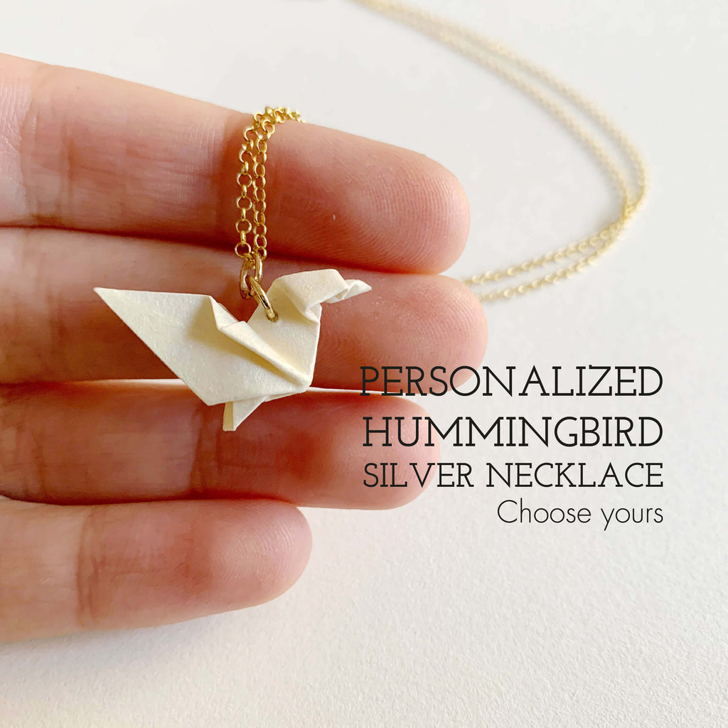 Personalized handmade origami hummingbird necklace