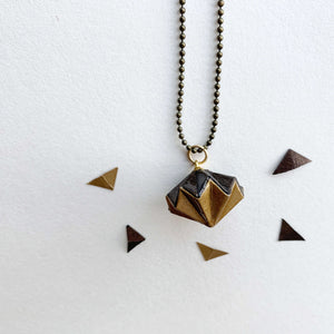 Handmade origami diamond necklace