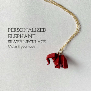 Personalized handmade origami elephant silver necklace