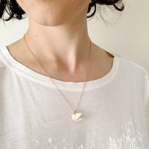 solidarity origami rose gold plated silver necklace